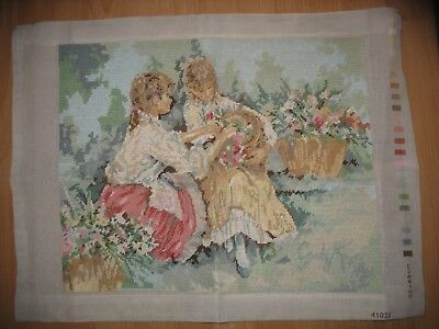 Vintage Two Ladies in Garden Period  Dutch Lanarte Cotton Tapestry
