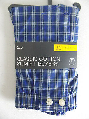 GAP Men's Classic 100% Cotton Slim Fit Boxers Underwear Blue Tartan Size L NWT