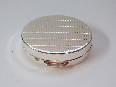 Pillendose Dose Pill Box Metalldose Schachtel Silber Pillbox Oval