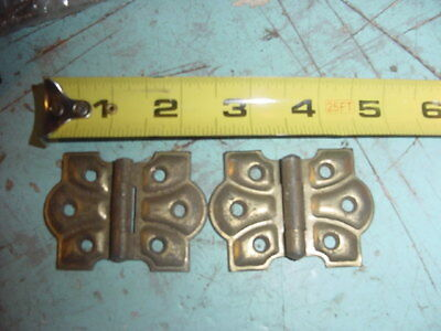 Antique Primitive Vintage Brass Stanley Butterfly Hinges Lot Of 2