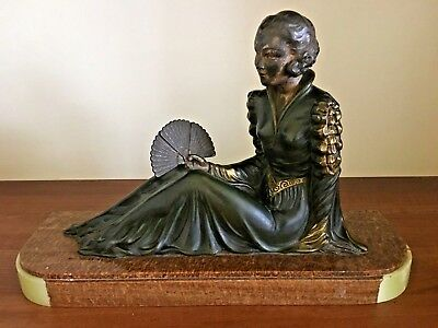 Art Deco bronzed Spelter figurine lady holding a fan on onyx and marble base