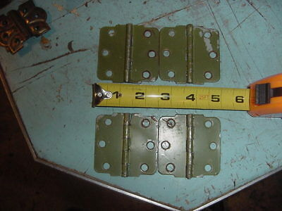 Antique Primitive Vintage Cabinet Door Green Hinges Lot Of 4