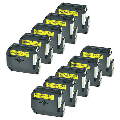 10 PK MK621 M-K621 9mm Black on Yellow Lable Tape for Brother P-Touch 65SL 70BMH