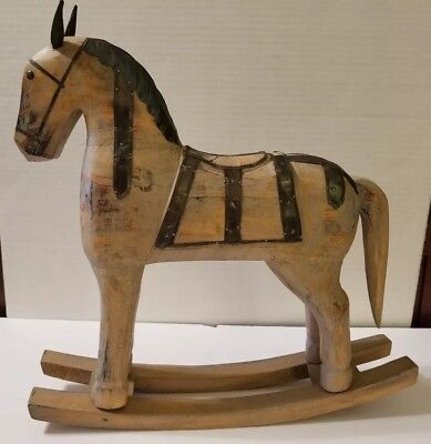 Wood and Metal Rocking Horse Statue Decor