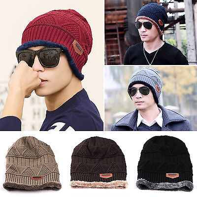 Men Women Cable Knit Lined Thick Warm Winter Wool Slouchy Beanie Hat Cap Baggy
