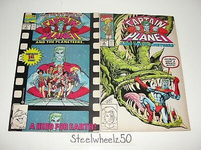 Captain Planet And Planeteers #1 & 2 Comic Lot Marvel 1991 Animated Series RARE