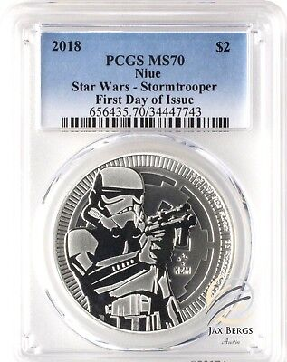 2018 $2 Niue Star Wars Stormtrooper 1oz .999 Silver Coin PCGS MS70 First Day