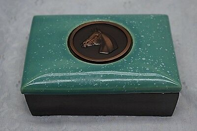 Vintage HYDE PARK Metal & Pottery Box w Horse medallion trinket cigarette