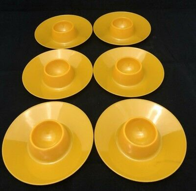 6 vintage retro DECOR Australia plastic Egg Yolk Yellow flying saucer egg cups