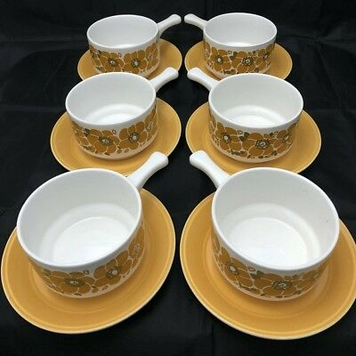 6 Staffordshire Potteries Ltd Soup Mug And Plate. Great Looking Retro Design
