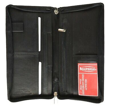 Black Solid Leather Wallet Passport Cover ID Holder Credit Card Travel Organizer