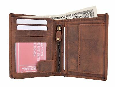 Vintage Leather RFID Blocking European Style Bifold Trifold Wallet W/ ID Window
