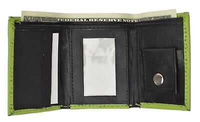 Genuine Leather Kids Small Trifold/Money Wallet By Marshal Lime Green