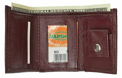 Genuine Leather Kids Small Trifold/Money Wallet By Marshal Lime Burgundy