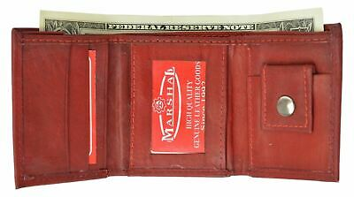 Genuine Leather Kids Small Trifold/Money Wallet By Marshal Red
