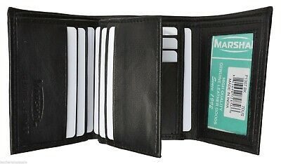 Black Mens Trifold Wallet Extra Capacity 10 Credit Card Inside Slots 2 ID Window
