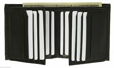 Mens Genuine Leather Bifold/Trifold 16+2 Card Slots 2 ID Windows Wallet Marshal