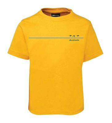 Aussie 3 Kangaroo Stripe T-Shirt (Yellow Gold) - Kids Sizes 2 4 6 8 10 12 14