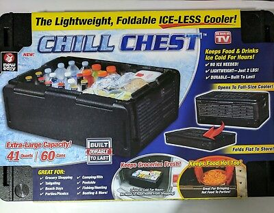 Chill Chest Lightweight Foldable Ice-Less 41 Quart Cooler New