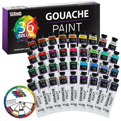 U.S. Art Supply 36 Color Set Gouche Paint in Large 18ml Tubes Color Mixing Wheel
