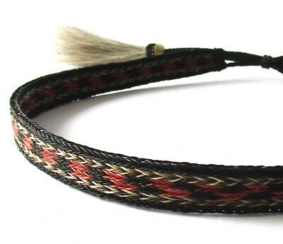 "Braided 100% Horsehair Double Tassel Hatband 5/8""  3/4"" Black Natural Red 6 Rows"