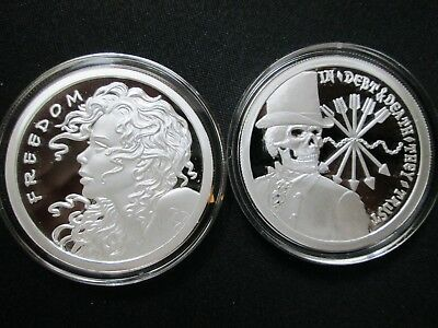 """/""""Double Freedom Girl/"""" Copper Round PROOF-LIKE 1 oz .999 Very Limited /& Very Rare"""