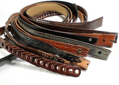 Lot of 10 Leather Belt Straps Only Mens Reseller Wholesale Tooled Black Brown