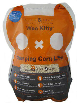 Rufus & Coco Wee Kitty Corn Litter 2kg natural clumping cat biodegrade ACP-100