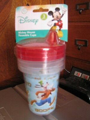 Mickey Mouse Donald Pluto Goofy Disney Baby 3 Pack Reusable Sippy Cups 10 oz.