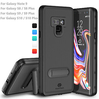 For Samsung Galaxy Note 9 S8 S9 S10 Plus Waterproof Case Cover with Kickstand