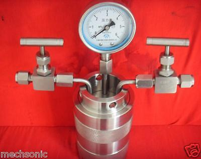 Hydrothermal synthesis Autoclave Reactor vessel + inlet outlet gauge 6Mpa 500ml