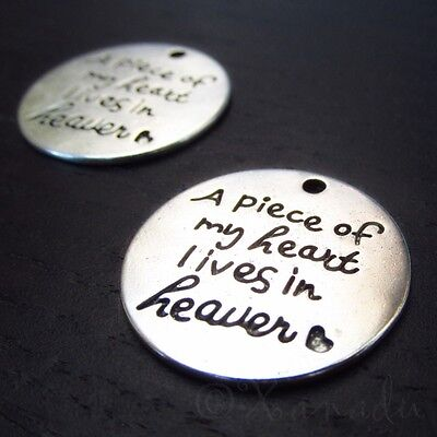 A Piece Of My Heart Lives In Heaven 22mm Memorial Charms C7899 - 2, 5 Or 10PCs