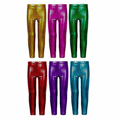 Girls Kids Metallic Fish Mermaid Scale Leggings Shiny Foil Childrens 3-13 Years