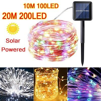 Solar Powered 10/20M 33/66Ft 100/200 LED Copper Wire Light String Fairy Xmas HOT