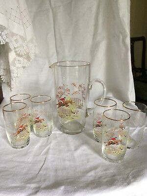 Vintage set of lemonade glasses and large jug with fox hunting theme