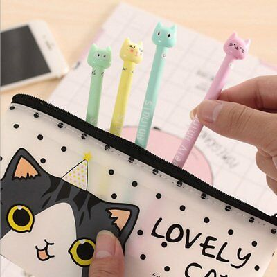 Cute Pencil 4pcs/set Gift Kawaii Kitsch Cat Head Gel Pen Cartoon Korean