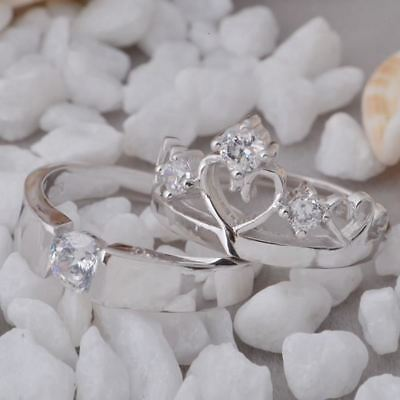 Women Vintage Style Silver Color Wedding Wear Crown Couple Ring