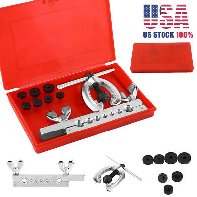 7 Dies Double Flare Tube Brake Lines Pipe Air Condition Tool Set Flaring Cutting