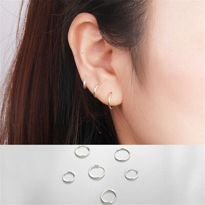 Small Endless Hoop Lip Nose Ear Studs 8/10/14mm 925 Silver Earring New Chic