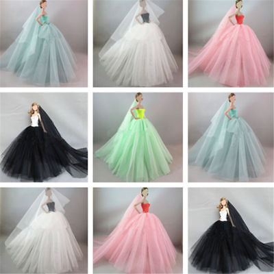 Handmade Royalty Princess Dress/Wedding Clothes/Gown + veil for Doll