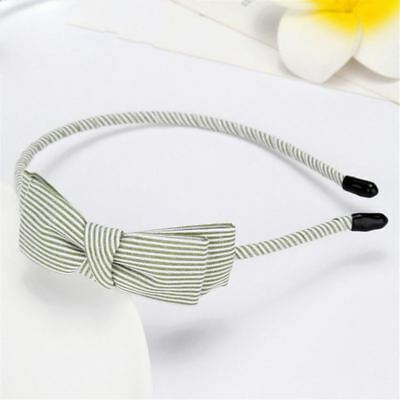 Women Stripe Print Bow Headband Green Pink Color Lace Hair Accessories