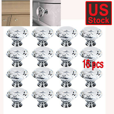 16 Vintage Crystal Clear Glass Door Knobs Pulls Cabinet Antique Furniture Drawer