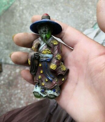 China Old Coloured Glaze Snuff Bottle old man Statue Bronze Jade Lid two