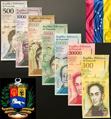 Venezuela - Full Set of 7 notes (PCS), 500 - 100000 BOLIVARES 2016 / 2017, UNC