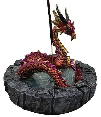 Dragon in Pond Ornament Statue Figurine Sculpture Maroon Incense Holder *12 cm*