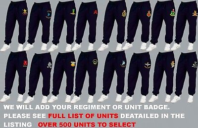 Units R To S Embroidered Army Raf Royal Navy Jogging Jog Bottoms Trousers Pants