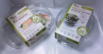 Set Of 2 New Eco Chef Stain Free Microwave  Fish/veg Steamer And Veg Steamer