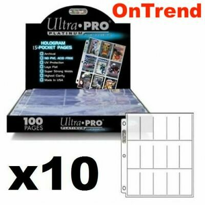 Ultra Pro 15 Pocket Platinum Series Tobacco Cigarette Cards Sleeves 10 Pages
