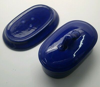 Metlox Colorstax COBALT COLOR 2 pc Butter Dish MADE IN CALIFORNIA