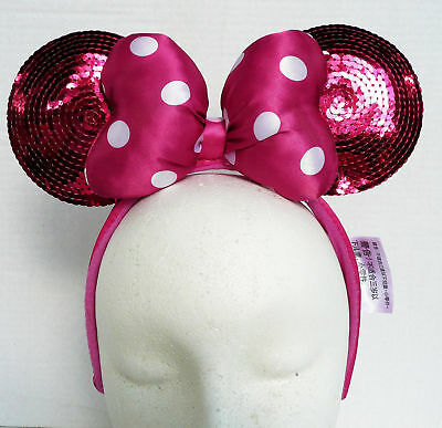 NEW Disney Parks World Minnie Mouse Ears Headband Pink Sequin w/ Satin Plush Bow